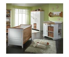 Komplett Babyzimmer in Weiß Landhaus Kiefer Massivholz (4-teilig)