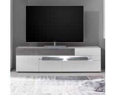 TV Board in Weiß Hochglanz und Beton Grau LED Beleuchtung
