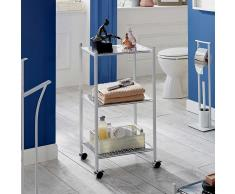 Badezimmer Regal mit Rollen Weiß Hochglanz