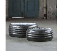 Runder Beistelltisch aus Stahl Anthrazit (2-teilig)