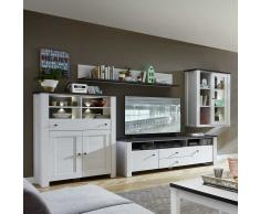 TV Anbauwand in Weiß Pinie Grau LED Beleuchtung (4-teilig)