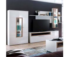 TV Anbauwand in Weiß Hochglanz Eiche 330 cm (3-teilig)