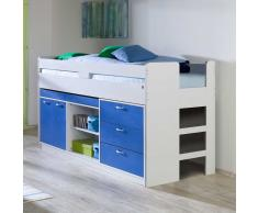 Halbhohes Bett mit Stauraum Weiß Blau