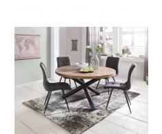 Runder Esszimmertisch aus Sheesham Massivholz Metall