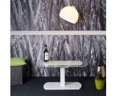 Design Couchtisch in Weiß Glas höhenverstellbar