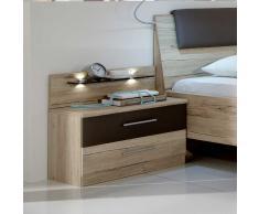 Nachttisch Konsole in Eiche Grau Braun LED Beleuchtung