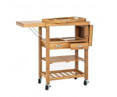 Massivholz Küchenwagen mit Arbeitsplatte Schubladen