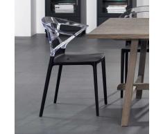 Esszimmerstuhl in Schwarz Transparent Kunststoff (4er Set)