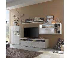 Hochglanz Wohnwand mit LED Beleuchtung 380 cm breit (4-teilig)