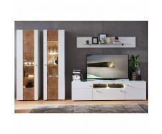 Wohnzimmer Schrankwand in Weiß Holz Dekor modern (4-teilig)