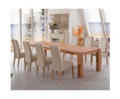 Tischgruppe mit Kernbuche Massivholztisch Polsterstühle (9-teilig)
