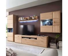 Wohnzimmer Wohnwand aus Eiche Bianco 330 cm breit (4-teilig)