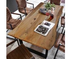 Esszimmertisch mit Baumkantenplatte Eisengestell