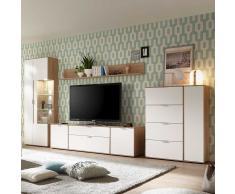 Wohnzimmer Wohnwand in Weiß und Eiche 370 cm (4-teilig)