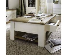 Wohnzimmer Couchtisch im Landhaus Design Pinie Weiß Wildeiche massiv