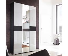 Dielenschrank mit Spiegeltür Weiß Anthrazit