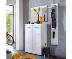 Garderobenset in Hochglanz Weiß mit Schuhschrank (3-teilig)