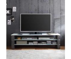 TV Lowboard in Grau Beton Weißglas