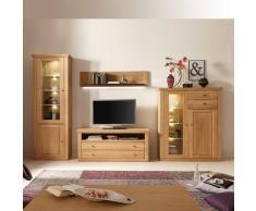 Wohnzimmer Anbauwand aus Eiche Bianco geölt Beleuchtung (4-teilig)