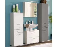 Badezimmer Kombination mit Hochglanz Weiß Waschtisch (3-teilig)