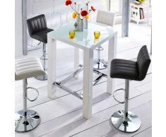 Küchen Bartisch mit Glasplatte Weiß Hochglanz