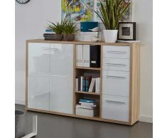 Büro Sideboard in Weiß Hochglanz Wildeiche
