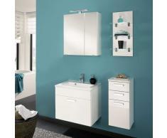 Bad Kombination mit Waschtisch und Spiegelschrank Weiß Hochglanz (4-teilig)
