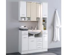 Badezimmer Komplettset in Hochglanz-Weiß Landhaus (5-teilig)