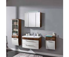 Badezimmer Komplettset mit Vitrine Weiß Hochglanz Walnuss (4-teilig)