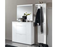 Garderobenset in Weiß Hochglanz modern (3-teilig)