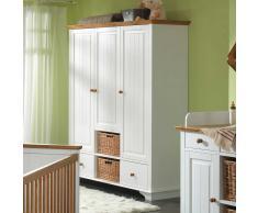 Babyzimmer Kleiderschrank in Weiß mit Körben