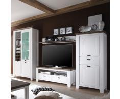 Wohnzimmer Anbauwand in Weiß Braun Landhausstil (4-teilig)