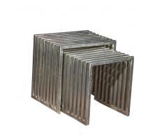 Beistelltisch Set aus vernickeltem Eisen Industriedesign (2-teilig)