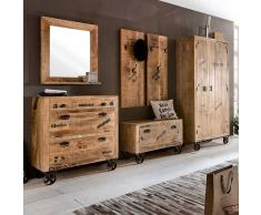 Garderobenset im Loft Design Holz massiv (6-teilig)