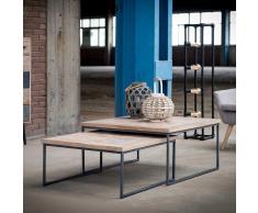 Zweisatztisch aus Teak Massivholz Stahl (2-teilig)
