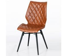 Stuhl Set in Braun gesteppt Metallgestell (2er Set)