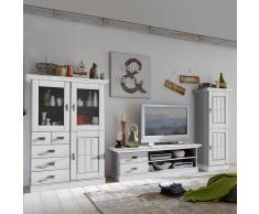 Wohnzimmer Schrankwand in Weiß skandinavisches Design (3-teilig)