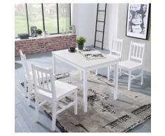 Esszimmergruppe mit vier Stühlen und Tisch Weiß massiv (5-teilig)