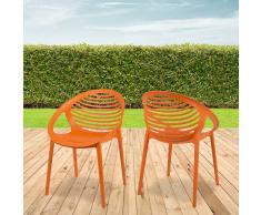 Design Stapelstuhl in Orange Kunststoff (4er Set)
