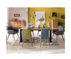 Esszimmergruppe aus Akazie Massivholz 6 Stühlen in Petrol und Grün (7-teilig)