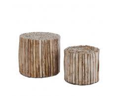 Zweisatztisch aus Teak Ästen rund (2-teilig)