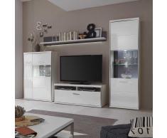 Wohnzimmer Schrankwand in Hochglanz Weiß 300 cm breit (4-teilig)