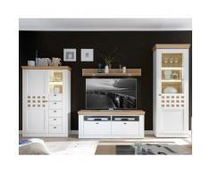 Wohnzimmer Schrankwand in Weiß mit Eiche furniert LED Beleuchtung (4-teilig)