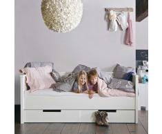 Massivholz Jugendbett in Weiß mit Stauraum