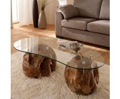 Wohnzimmer Couchtisch mit Glasplatte Teakholzkugeln