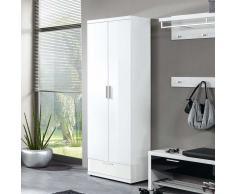 Garderobenschrank in Weiß Hochglanz 70 cm breit