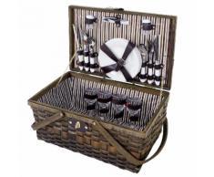 Picknickkorb-Set für 4 Personen, Picknicktasche Weiden-Korb, Porzellan Glas Edelstahl, braun-weiß ~ Variantenangebot