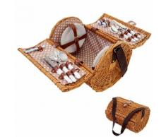 Picknickkorb-Set für 4 Personen, Picknicktasche Weiden-Korb, Porzellan Edelstahl, beige-weiß ~ Variantenangebot