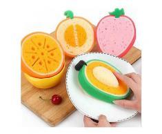 4pcs schöne Frucht starke Entgiftung Sponge Mikrofaser Abwaschen Küche Werkzeug-Küche Reinigungszubehör