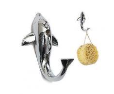 Silber Chrome Alloy Delphin Haken Handtuch Hut Kleidung Badezimmer Hanger-Gewand Haken